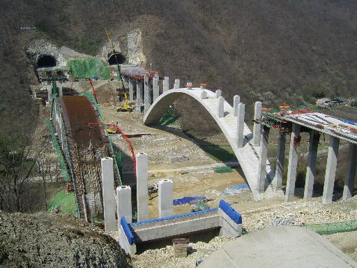 국내 최장 콘크리트 아치교 시공전경
