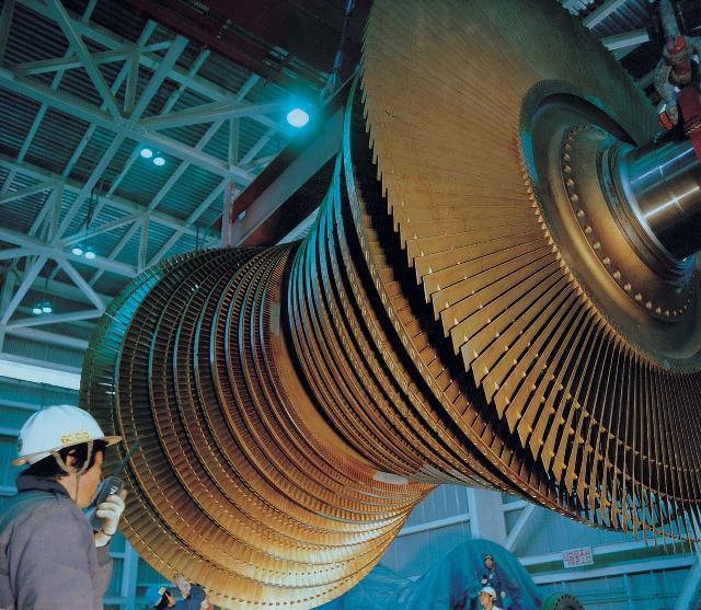 발전기를 구성하는 터빈 날개의 모습