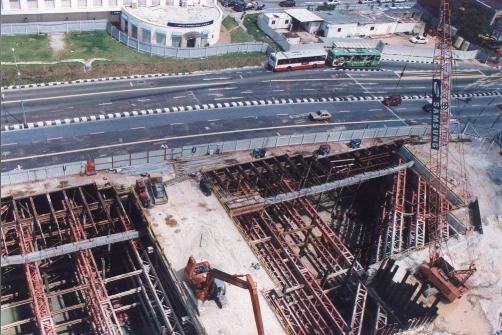 싱가포르 북동선_D지구 토공 및 흙막이 전경